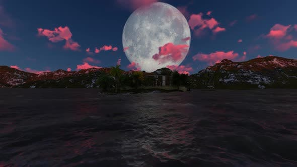 Thumbnail for Night landscape with moon and clouds