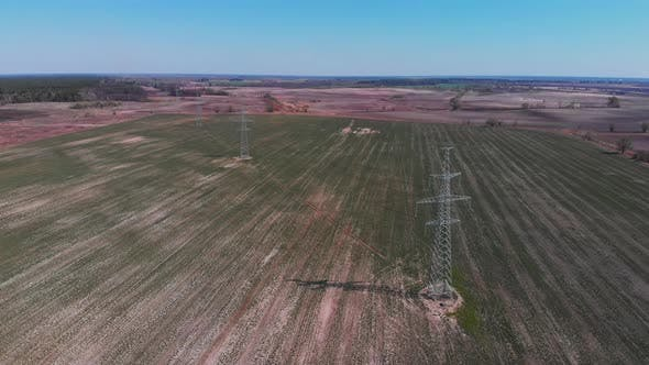 Thumbnail for Aerial view of high voltage electricity power lines.