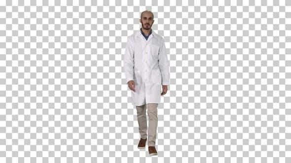 Walking Male Arab Doctor, Alpha Channel