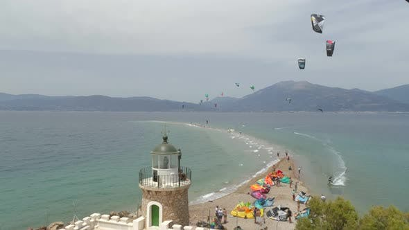 Thumbnail for Aerial view of group doing windsurfing in the Gulf of Patras, Greece.