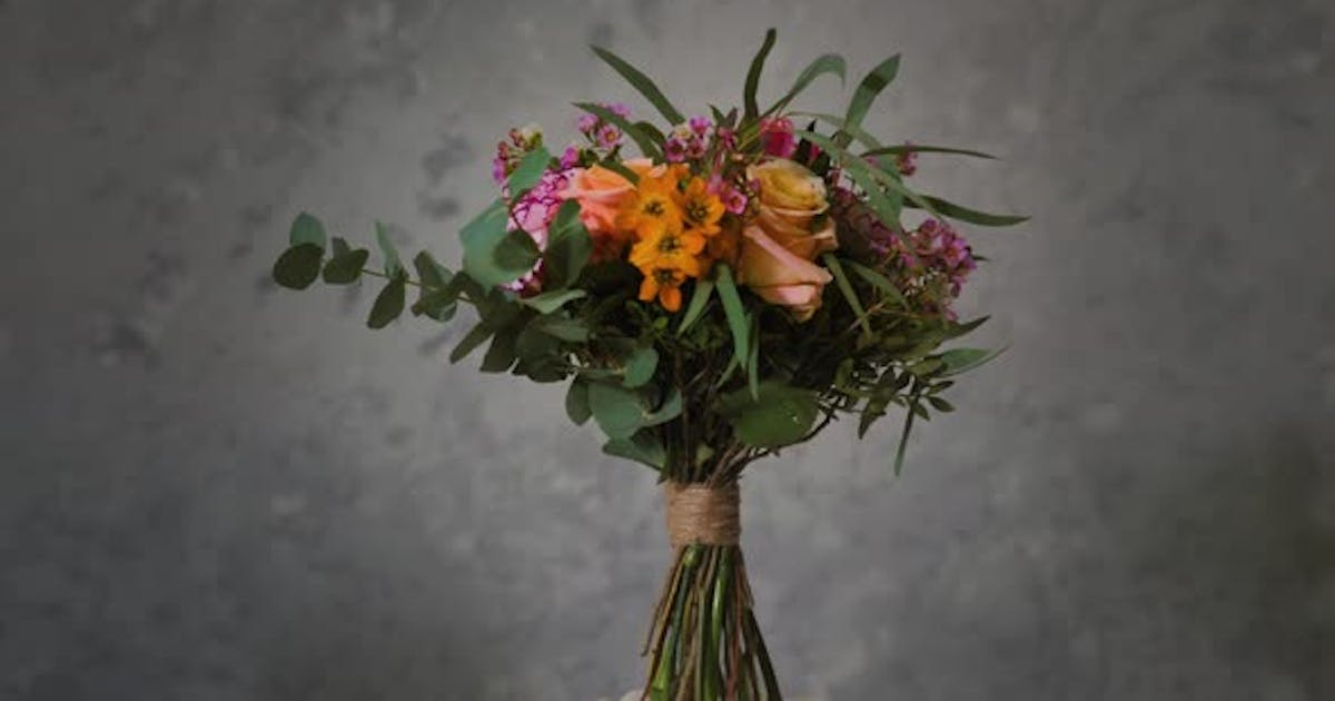 Bouquet of Flowers, Showing All Splendor of Peonies, Roses and Other Flowers in Smallest Details