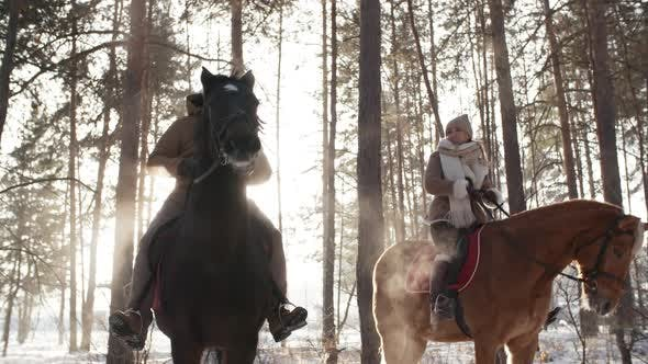Thumbnail for Cheerful Couple on Horses Discussing Nature in Winter Forest