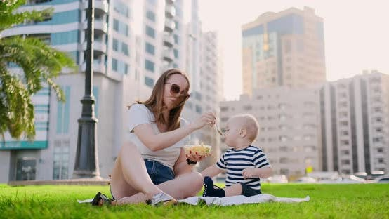 Thumbnail for Young Mom with Baby Sitting on the Grass in the Park Eating Lunch