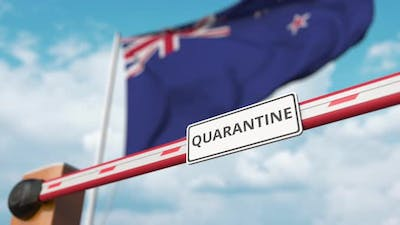 Opening Barrier with QUARANTINE Sign at Flag of New Zealand