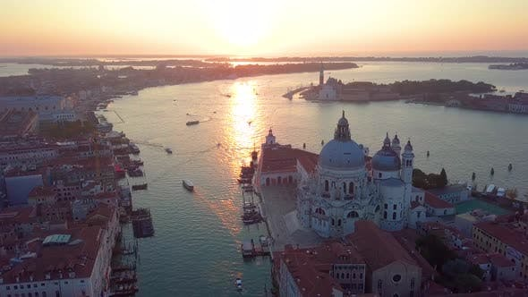 """Thumbnail for Aerial Panoramic View of Cityscape of Venice, Grand Canal in Famous Historical """"City of Water"""