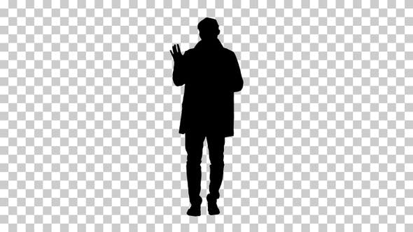 Silhouette man in trench coat, Alpha Channel