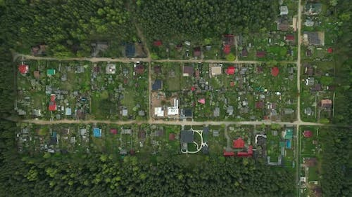 View From the Height of the Dacha Village in the Forest of Europe