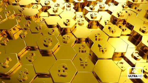 Gold World Currency Symbols With Hexagon Background