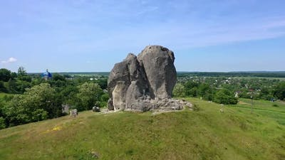Aerial Drone View of Famous Ukrainian Historical Pidkamin Place