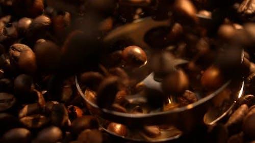 Blender Grinding Coffee Beans In Slow Motion Macro 4K