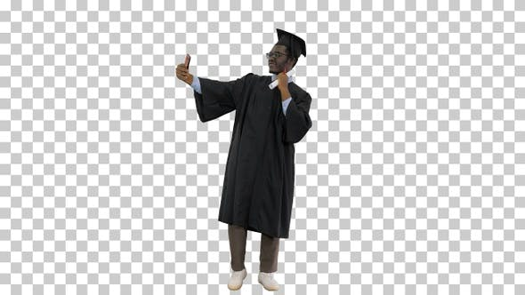 Happy african american male student in, Alpha Channel