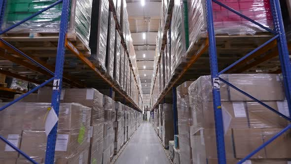 Warehouse with Packed Goods on Racks