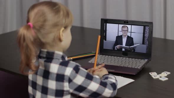 Thumbnail for Children Pupil Distance Education on Laptop. Online Lesson at Home with Teacher