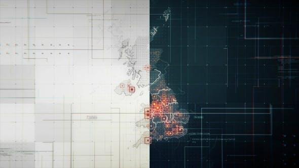 Thumbnail for 2 Stück Großbritannien Karten mit Linien Rollback Kamera 4K