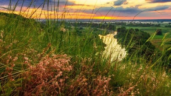 Beautiful Sunny Sunset or Sunrise Countryside Landscape