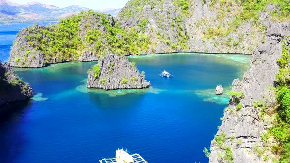 Thumbnail for Landscape of Tropical Rocks Island and Blue Sea. Coron Island, Palawan, Philippines. Aerial View