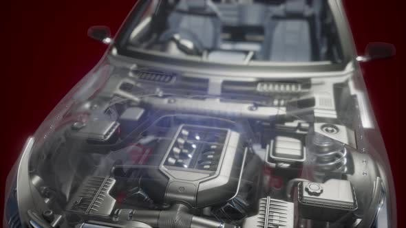 Thumbnail for Engine and Other Parts Visible in Car