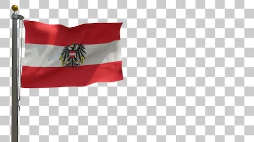 Austria Flag with Emblem on Flagpole with Alpha Channel