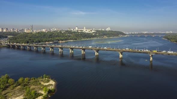 Thumbnail for City Traffic on Patona Bridge in Kiev. Hyperlapse