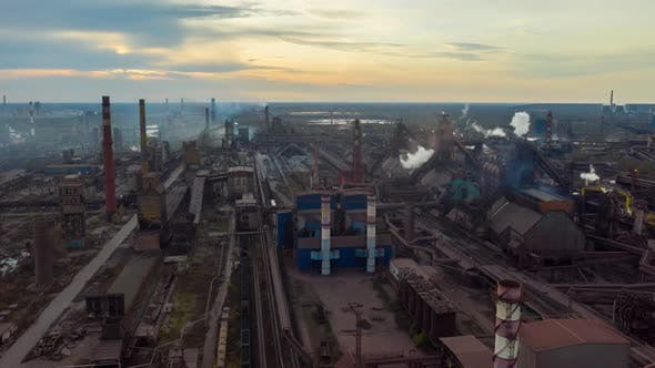 Thumbnail for Aerial Hyperlapse Time Lapse. Steel Factory Pipes During Sunrise Time