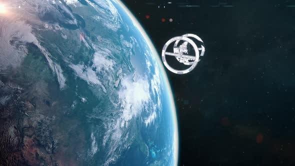 Futuristic Space Station Orbiting Earth