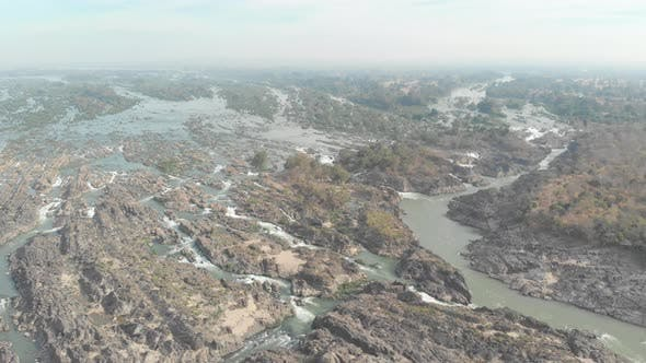 Aerial: flying over Don Det and the 4000 islands Mekong River in Laos
