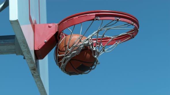 Thumbnail for Super slow motion shot of basketball going into hoop, shot on Phantom Flex 4K