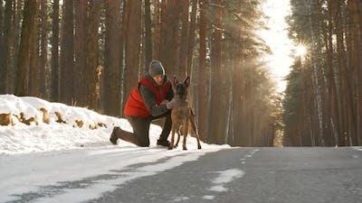 Dog Owner Stroking Pet in Forest