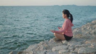 Zen yoga meditation practice in nature.