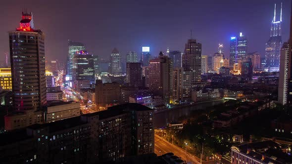 Thumbnail for Shanghai Buildings Surround Wusong River in China Timelapse
