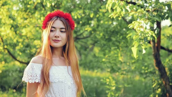 Cute Girl Walks in the Summer