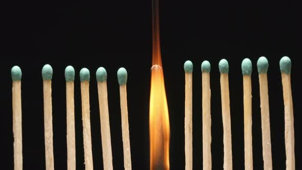 Thumbnail for Burning of single matchstick between row of new matchsticks