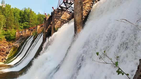 Thumbnail for Water Dam in Forest - Heavy River Water Stream Falls Down - Nature
