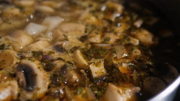 Thumbnail for Steamed Chicken and Mushroom Soup. Home Made Steamed Chicken and Mushroom Soup Cooking in Hot Pot