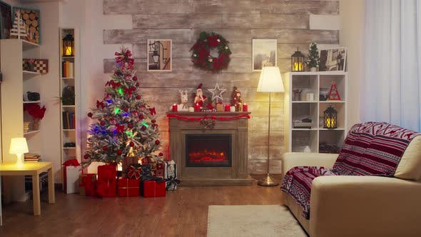 Thumbnail for Fireplace and Christmas Tree in a Room Decorated for Christmas