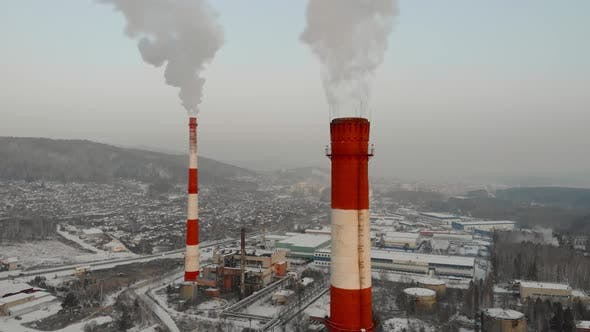 Thumbnail for Aerial View of Tall Chimney Pipes with Gray Dirty Smoke From Coal Power Plant