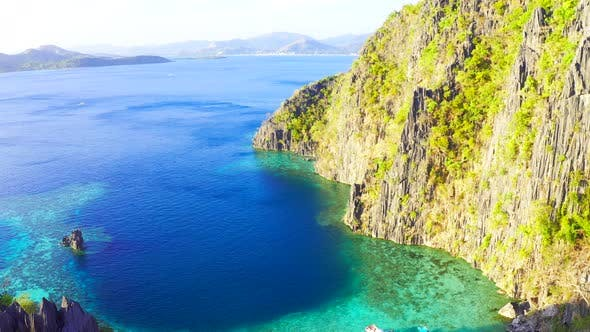 Cover Image for Landscape of Tropical Rocks Island and Blue Sea. Coron Island, Palawan, Philippines. Aerial View