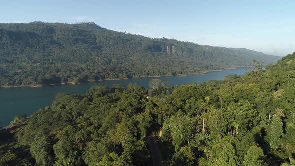 Flying Towards River Tank Reservoir