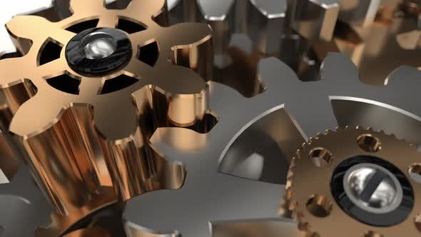 Beautiful Golden Gears Wall Front View Seamless Rotation