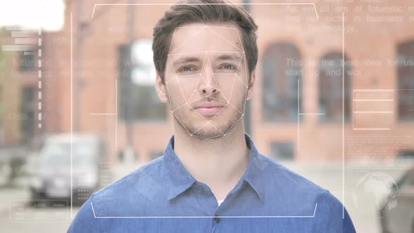 Thumbnail for Identification of Young Man by Biometric Facial Recognition Scanning System