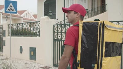 Male Courier Delivering Food