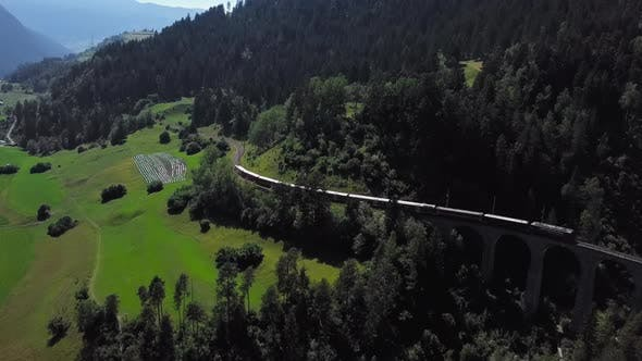 Thumbnail for Aerial View of Train on Schmittentobel Viaduct, Switzerland