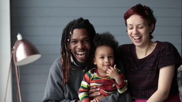 Thumbnail for Portrait of Beautiful Mixed Race Family Smiling
