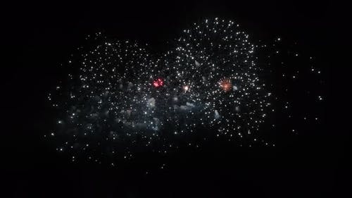 Close Up of Colourful Abstract Futuristic Fireworks Show Night Sky