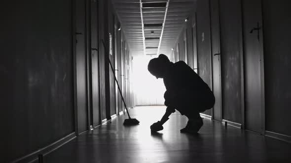 Thumbnail for Silhouette of Female Cleaner Scrubbing Floor