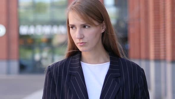 upset Sad Businesswoman with Grief Standing Outside
