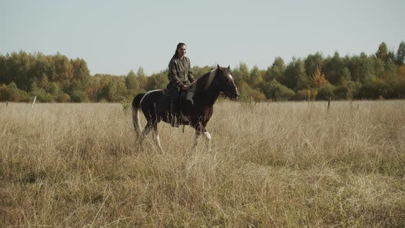 On a Weekend in Autumn a Young Girl Came To the Equestrian Club To Ride a Horse in the Fields