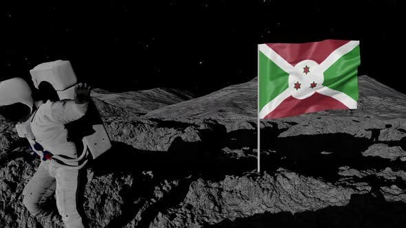 Thumbnail for Astronaut Planting Burundi Flag on the Moon