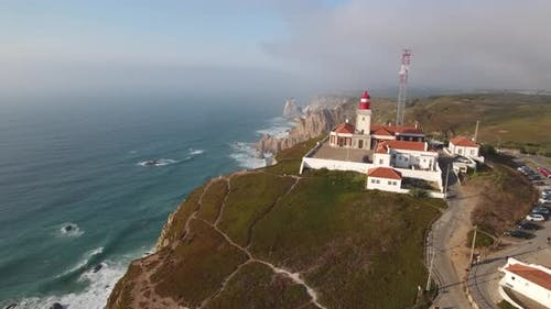 Aerial view of Cabo da Roca, Portugal - westernmost point of continental Europe