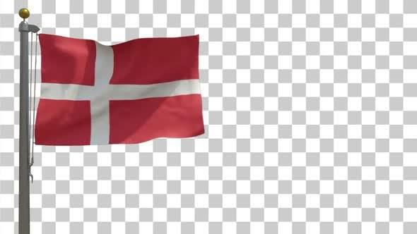 Denmark Flag on Flagpole with Alpha Channel - 4K
